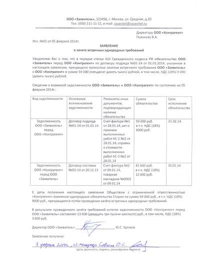 образец заявления о зачете встречных однородных требований